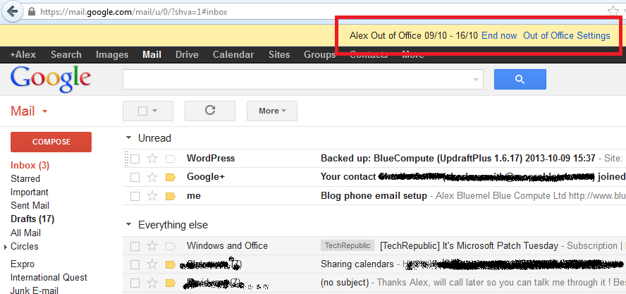 Gmail Spam Settings >> Set up an Out-of-Office Message in Google Apps - BlueCompute