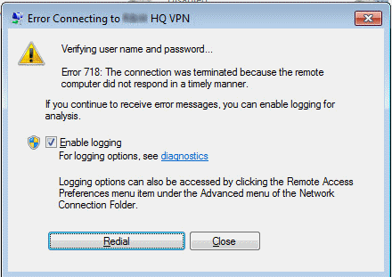 connection was terminated by the remote computer